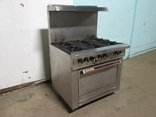 """GARLAND"" COMMERCIAL H.D. NATURAL GAS 6 BURNERS STOVE w/OVEN & S.S. SHELF"