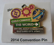 "Girl Scout 2014 CONVENTION PIN Salt Lake City Utah ""Change The World"" Button"