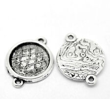 50 Silver Tone Pattern Round Cabochon Setting Connectors 23x17mm(Fit 14mm)