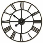 New Large 60cm Black Iron Metal Wall Clock Vintage French Provincial Style Roman