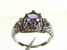 1.25ctw Natural Round Cut Amethyst Victorian Deco 925 Sterling Filigree Ring s7
