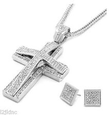 Mens Large Two Cross Silver Iced Out Pendant 36 Inch Necklace Franco Chain S10