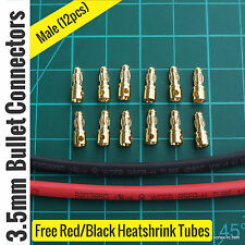 3.5mm Gold Banana Bullet Connectors Male (12Pcs). High Quality. For ESC Motor