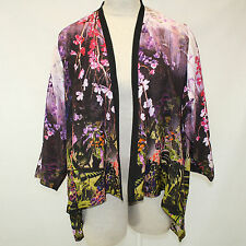 NEW NWT Citron Clothing Butterfly & Flowers 100% Silk Cascade Jacket Blouse 2X