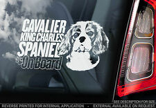 Cavalier King Charles Spaniel - Car Window Sticker - Dog on Board Sign - TYP2