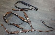 CLOSEOUT Large Leather Western Headstall Breast Collar Medium Oil Tooled Antique