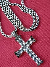 "David Yurman Men's Sterling Silver Chevron Cross w/Black Diamonds 22"" Chain"