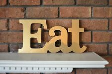 EAT ~ Gold Wood Distressed LETTER Kitchen Cafe Diner Sign WALL DECOR
