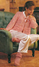 "VINTAGE KNITTING PATTERN LADY'S DK BED JACKET & SOCKS 30-50"" S MED L & EX LARGE"