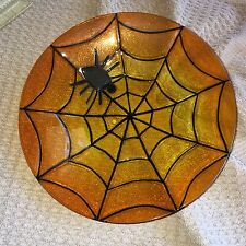 "11.75"" Fused Glass Clear Sunset Orange Spider Web With Spider Halloween Bowl"