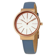 Skagen Ancher White Dial Ladies Blue Leather Watch SKW2482