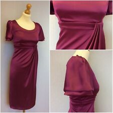 Karen Millen Ladies Pink Purple Stretch Satin Fitted Empire Line Dress UK 12