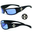 New Choppers Motorcycle Biker Riding Wrap 100% UV400 Men Sunglasses - Blue C11B