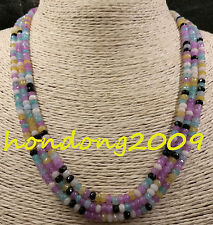 NATURAL  3 Rows 2X4mm FACETED Aquamarine/Alexandrite MIX  GEMS BEADS NECKLACE