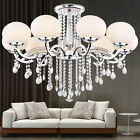 Luxury Modern Chandelier Crystal Uplight White Glass Shade 9 Lights New Series