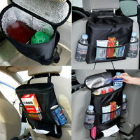 Car Seat Back Storage Bag Travel Tidy Food Multi Pocket Organizer Foldable Black