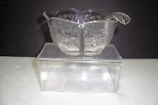 ELEGANT GLASS ETCHED FLOWER DUNCAN MILLER FIRST LOVE DIVIDED SAUCE BOWL &  LADLE