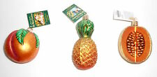 Old World Christmas PEACH PINEAPPLE CANTALOUPE 3 New Glass Ornaments OWC Merck