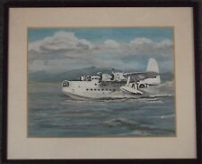 FRAMED OIL ON BOARD PAINTING by J.CORNELIUS A STUDY OF A FLYING BOAT PLANE