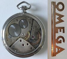 VINTAGE SWISS POCKET WATCH OMEGA STAINLESS STEEL IN ART DECO STYLE BOX AND CHAIN