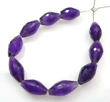 10 NATURAL GEMS GRAPE AFRICAN AMETHYST FACETED DROP BRIOLETTE BEADS 8-10 mm A11