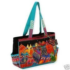 Laurel Burch Bright Colors Fantastic Feline Cats Canvas Tote Medium Handbag NWT