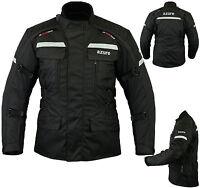 Mens Motorcycle Motorbike Jacket Waterproof Textile Cordura Armoured Black Large