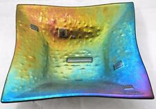 Black iridescent metallic glass modern square plate bowl SIGNED Snarud NORWAY