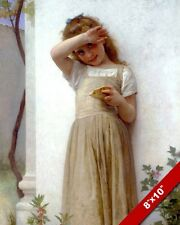 YOUNG GIRL CHILD W PIECE OF BREAD PORTRAIT OIL PAINTING ART REAL CANVAS PRINT