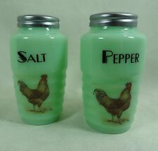 Salt & Pepper Shaker Set W Colorful Hens Decal Ribbed Jade Jadeite Jadite Glass