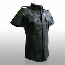 REAL LEATHER Men Black Police Military Style Shirt BLUF GAY All Sizes Available
