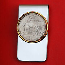 US 2004 Iowa State Quarter BU Uncirculated Coin Two Toned Money Clip New