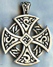 "ROUND CELTIC CROSS PEWTER PENDANT STAINLESS STEEL 30"" 2.4MM BALL CHAIN NECKLACE"