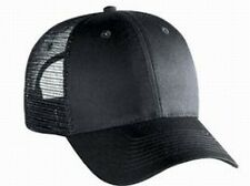 Blank Solid 6 panel Black Low profile Mesh Snap Back Cap Trucker Mesh Hat