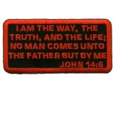 JOHN 14:6 CHRISTIAN EMBROIDERED IRON ON BIKER PATCH