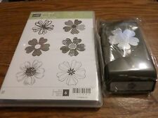 STAMPIN UP FLOWER SHOP 6 PC CLEAR MOUNT RUBBER STAMP SET & MATCHING PANSY PUNCH
