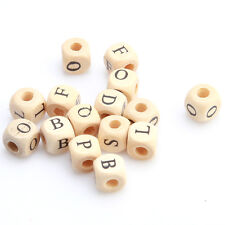 100pcs New Small Square Wood Color Letters Wood Bead Lots Fit European Charms C