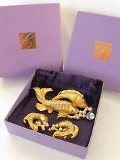 ELIZABETH TAYLOR Sea Shimmer Koi Fish Pin/Brooch Earrings Set w/Box Pouch