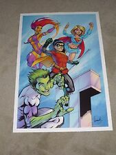 TEEN TITANS ART PRINT SIGNED BY ALE GARZA  13x19