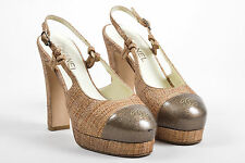 Chanel Tan Taupe Patent Woven Straw Slingback Platform Block Heel SZ 38.5