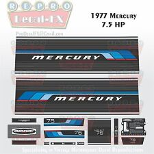 1977 Mercury 7.5 HP Outboard Reproduction 14 Pc Marine Vinyl Decal Kit 7½ 75
