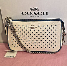 AUTHENTIC COACH NOLITA PERFORATED TEAL DOT LEATHER F53225 SMALL HANDBAG NWT $135