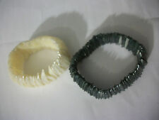 Natural White & Gray Abalone Shell Mother of Pearl MOP Bead Stretch Bracelet