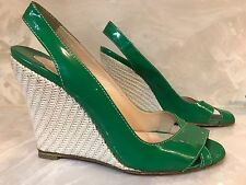CHRISTIAN LOUBOUTIN Green Patent Leather Wedge Sandal Heels Marpoil 40 / 9