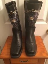 Harley Davidson Leather Ankle Black Boots Women size 7.5 with Side zipper