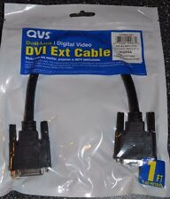DVI Cable QVS Dual Link Digital Video Male to Female 1 ft dvi-d m/f black NEW