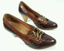 Office Girl brown leather two tone  mid heel shoes  uk 6
