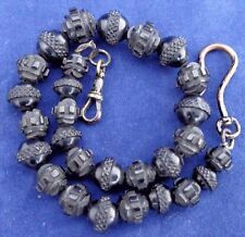 Victorian Whitby Jet Intricate Carved Beads Ladies Short Watch Chain or Albert