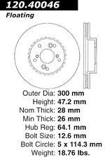 Centric Parts 120.40046 Front Premium Brake Rotor