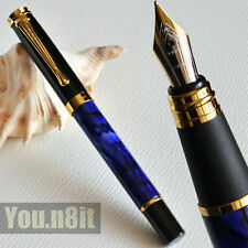 Executive Jinhao 500 Royal Blue Marble And Golden Medium Nib Fountain Pen